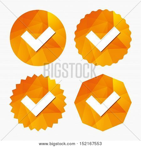 Check sign icon. Yes button. Triangular low poly buttons with flat icon. Vector