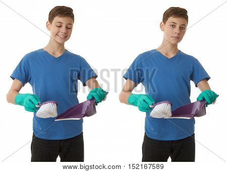 Set of cute teenager boy in blue T-shirt and green rubber gloves scoop and brush over white isolated background, half body, cleaning concept