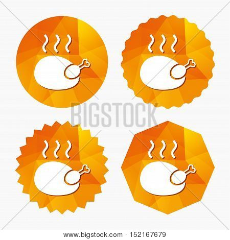 Roast chicken sign icon. Hen bird meat symbol. Triangular low poly buttons with flat icon. Vector