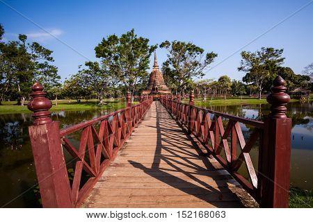 Wooden bridge in Wat Mahathat Sukhothai Historical Park ,Sukhothai ,Thailand