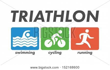 Vector cool logo for triathlon. Icon triathletes on a white background. Swimming, cycling and running symbol.