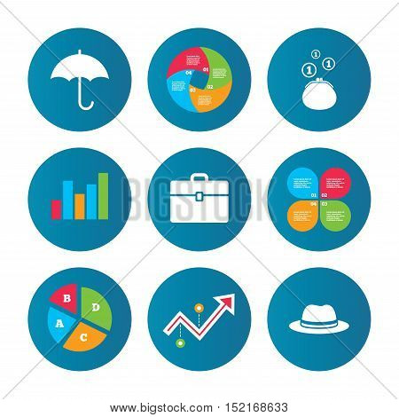 Business pie chart. Growth curve. Presentation buttons. Clothing accessories icons. Umbrella and headdress hat signs. Wallet with cash coins, business case symbols. Data analysis. Vector