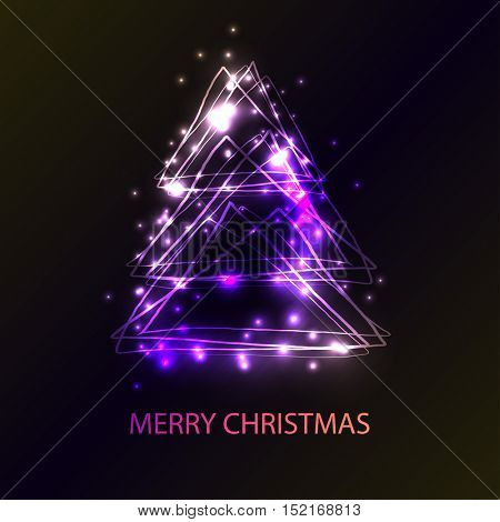 Beautiful holiday card with techno style christmas tree. Christmas tree made from triangles, flashes and lights. An excellent illustration for the holiday cards, party invitations, disco banners.