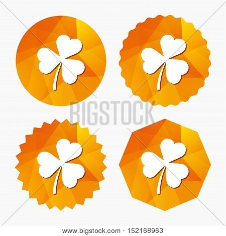 Clover with three leaves sign icon. Trifoliate clover. Saint Patrick trefoil symbol. Triangular low poly buttons with flat icon. Vector