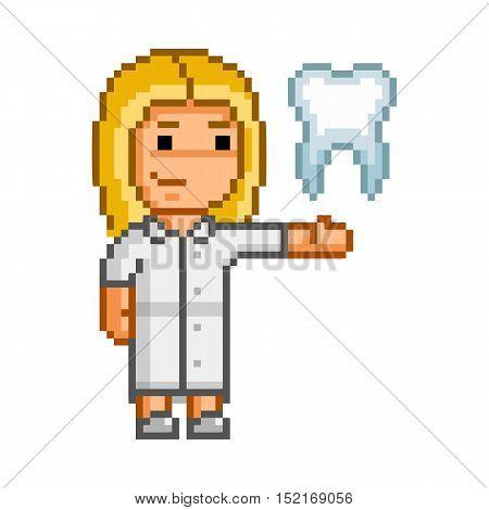 Vector pixel dentist or stomatologist on white background