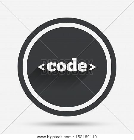 Code sign icon. Programming language symbol. Circle flat button with shadow and border. Vector