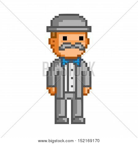 Vector pixel man in hat on white background.