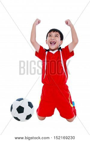 Asian Soccer Player Showing Arm Up Gesture. Action Of Winner Or Successful People Concept