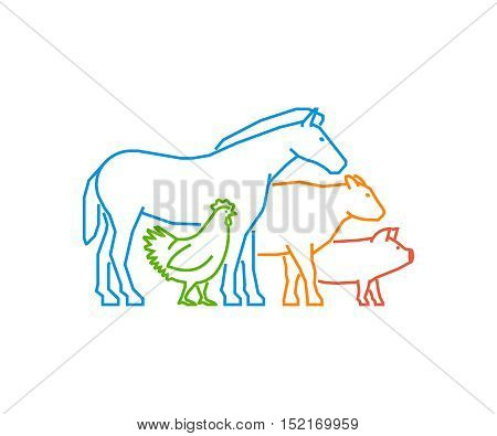 Line logo for farmers market. Linear farm animals on a white background. Farm animals symbol. Outline horse pig cow chicken.