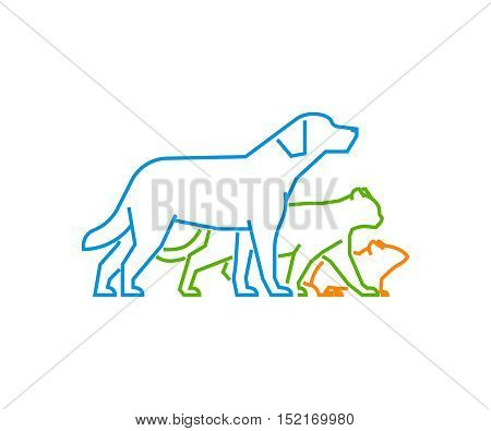 Cool logo for pet shop and veterinary clinic. Vector pets on a white background. Vector icon dog and cat.
