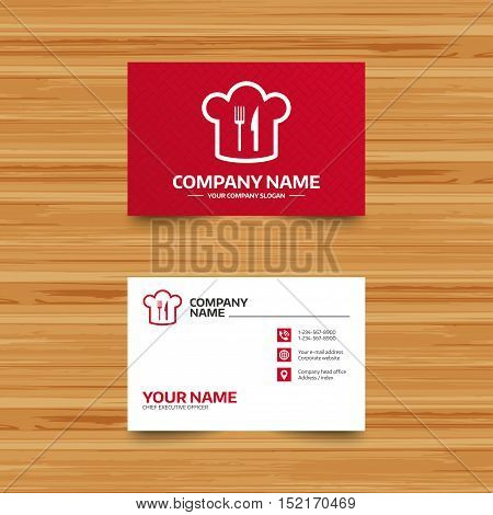 Business card template. Chef hat sign icon. Cooking symbol. Cooks hat with fork and knife. Phone, globe and pointer icons. Visiting card design. Vector