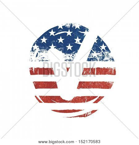 Voting mark. American lag background. Vote grunge vector symbol. Voting design presidential election. Retro styled icon.