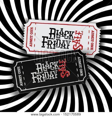 Black Friday Ticket Concept. Retro styled