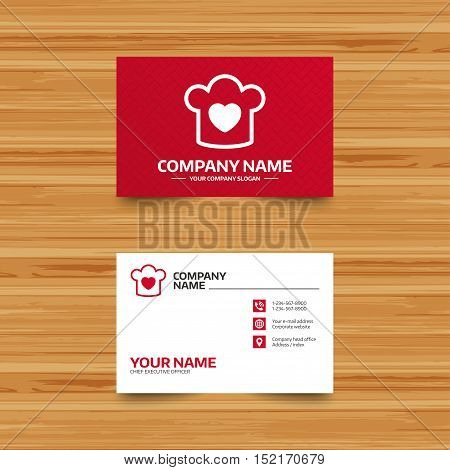 Business card template. Chef hat sign icon. Cooking symbol. Cooks hat with heart love. Phone, globe and pointer icons. Visiting card design. Vector