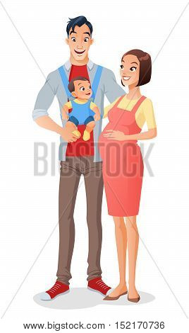 Cute smiling cartoon Asian family with a baby in carrier and expecting another child. Vector illustration isolated on white background.