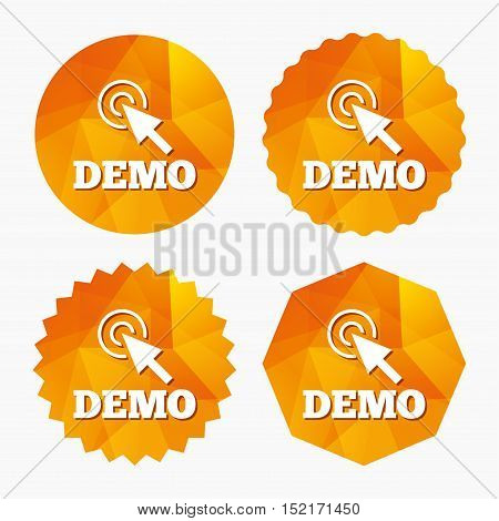 Demo with cursor sign icon. Demonstration symbol. Triangular low poly buttons with flat icon. Vector