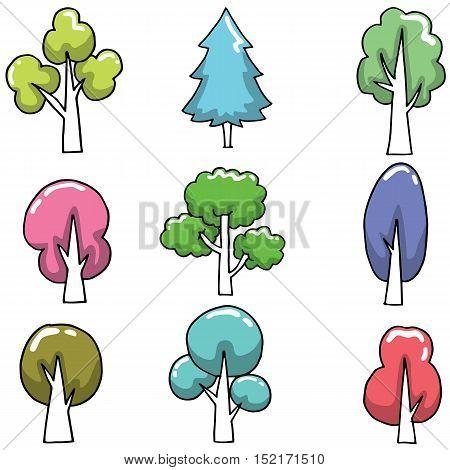 Tree various set on doodles vector art