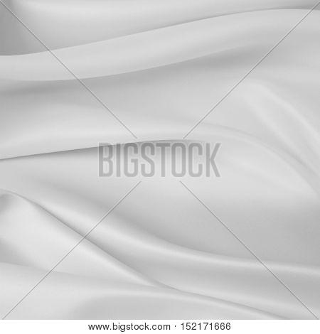 Closeup of rippled white silk fabric
