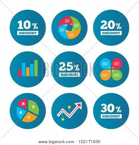 Business pie chart. Growth curve. Presentation buttons. Sale discount icons. Special offer price signs. 10, 20, 25 and 30 percent off reduction symbols. Data analysis. Vector