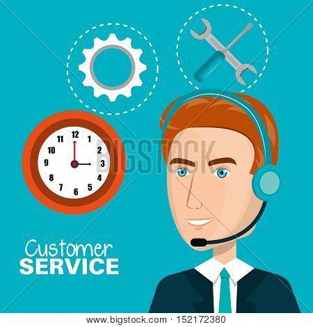 customer service agent working online vector illustration design
