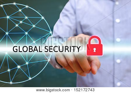 Man pointting security lock icon world wide web with lines connecting dots Global IT security protection concept.