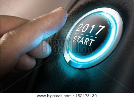 Hand about to press a 2017 button. Concept of new year two thousand seventeen. Composite between a photography and a 3D background. Horizontal image