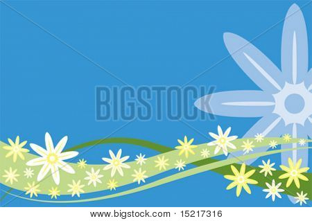 Summer flowers background vector.