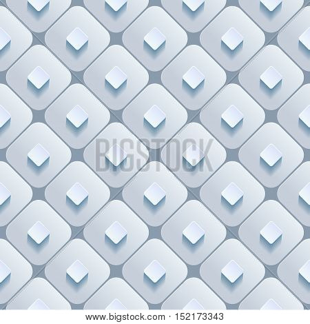 Abstract 3d geometric background. White seamless texture with shadow. Simple clean background texture. 3D Vector interior wall panel pattern. Vector illustration.