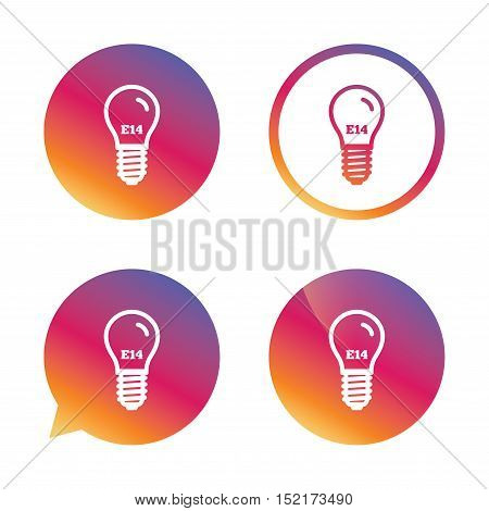 Light bulb icon. Lamp E14 screw socket symbol. Led light sign. Gradient buttons with flat icon. Speech bubble sign. Vector