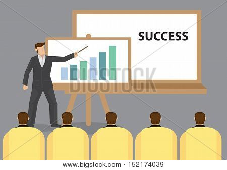 Businessman standing in front of white board giving presentation on Success to seat audience. Cartoon vector illustration on business presentation.