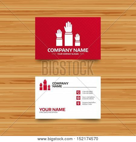 Business card template. Election or voting sign icon. Hands raised up symbol. People referendum. Phone, globe and pointer icons. Visiting card design. Vector
