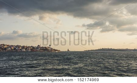 Istanbul Turkey - September 11 2016: Istanbul cityscape view from Bosphorus river.