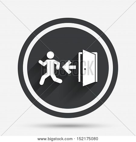 Emergency exit with human figure sign icon. Door with left arrow symbol. Fire exit. Circle flat button with shadow and border. Vector