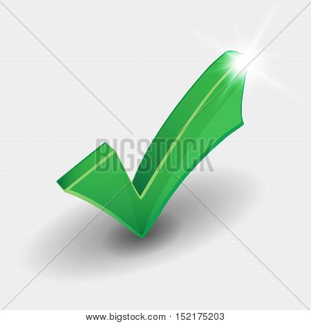 Green check mark with shiny light on white background