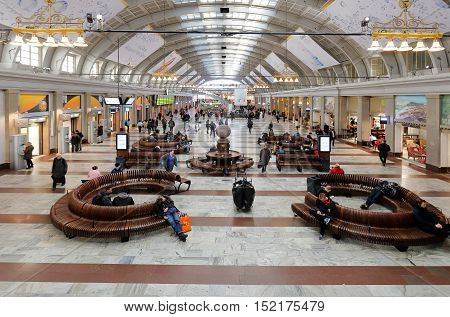 Stockholm, Sweden - March 19, 2015; The Stockholm centralrailroad station main hall interior.