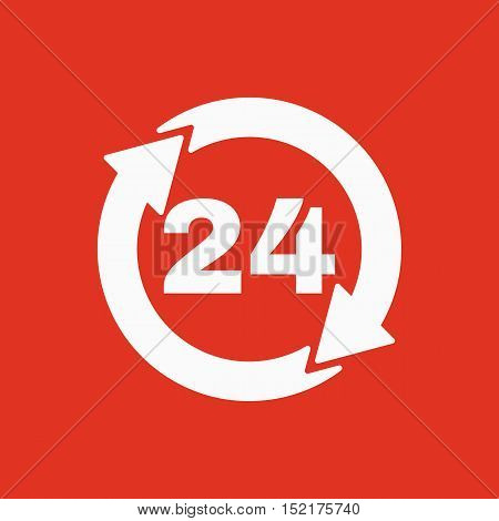 The 24 hours icon. Twenty-four hours open symbol. Flat Vector illustration