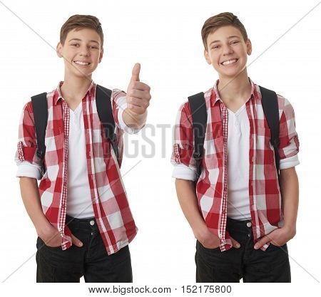 Set of cute teenager boy in red checkered shirt with school bag, gesturing thumb up over white isolated background, half body, as school, education concept