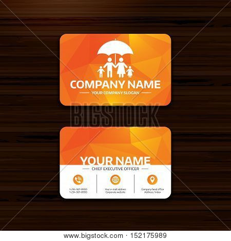 Business or visiting card template. Complete family insurance sign icon. Umbrella symbol. Phone, globe and pointer icons. Vector