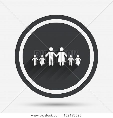 Complete family with many children sign icon. Large family symbol. Circle flat button with shadow and border. Vector