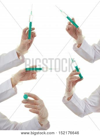 Set of doctor female hand rubber glove with syringe over white isolated background