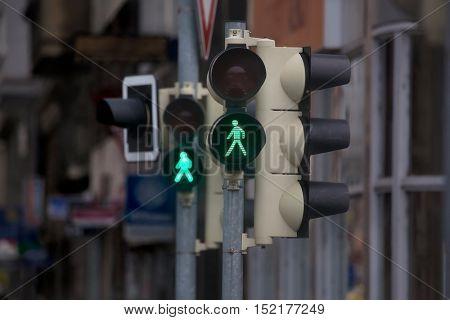Green traffic light for pedestrians