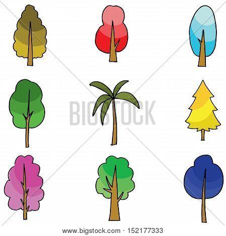 Vector flat of tree various doodles illustration