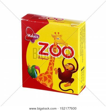 Stockholm Sweden- September 3, 2014: One box with 20 g Malaco Zoo candy for the Swedish market isolated on white background.