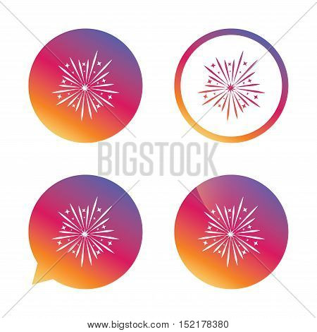 Fireworks sign icon. Explosive pyrotechnic show symbol. Gradient buttons with flat icon. Speech bubble sign. Vector