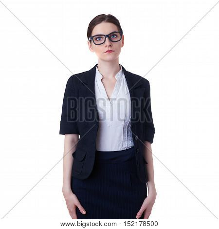 Businesswoman standing over white isolated background in glasses, business, education, office concept