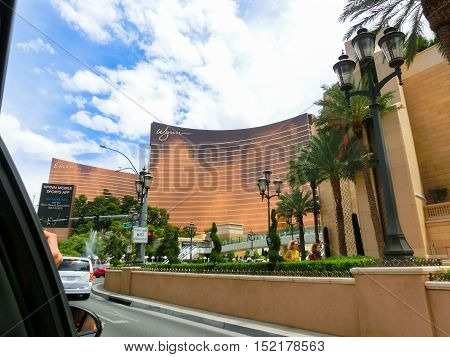 Las Vegas, United States of America - May 05, 2016: The view from car of Las Vegas Strip hotel resorts and casinos. Over 39.7 million people visit Las Vegas each year.