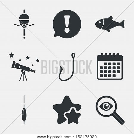 Fishing icons. Fish with fishermen hook sign. Float bobber symbol. Attention, investigate and stars icons. Telescope and calendar signs. Vector
