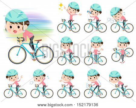 Bun Hair Mom Pants Style Ride On Rode Bicycle