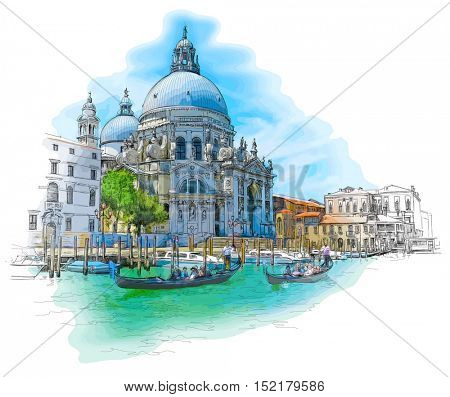 Venice - Cathedral of Santa Maria della Salute - Color drawing