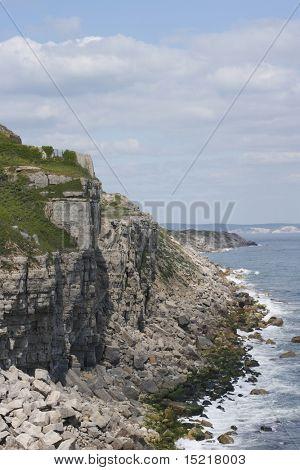 Cliffs edge in Portland Dorset England.